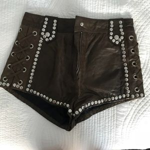 Pants - Real Leather High Wasted Shorts NWOT
